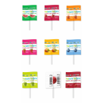 Caramel YumEarth® Organic Fruit Popps  on a stick with flavors Strawberry, Watermelon, Peach, Pomegranate, Mango, Apple with Sour, Blueberry, Cherry.